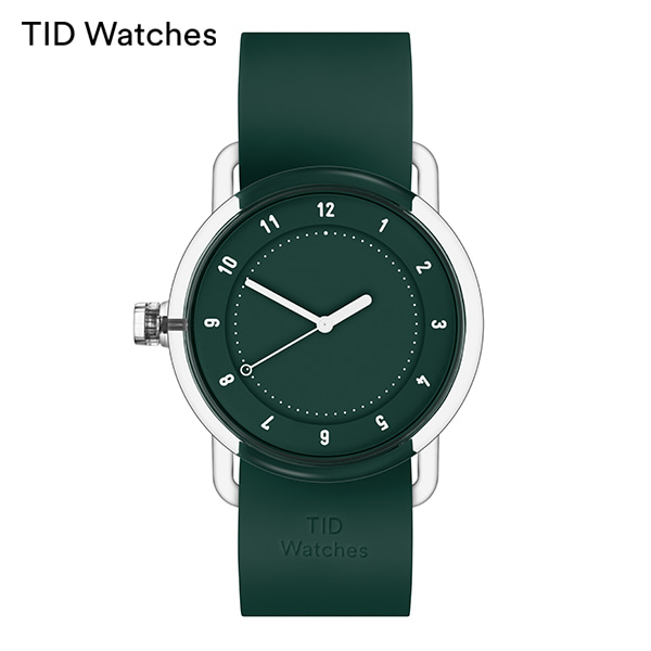 [티아이디 TID] No.3 TR90 Green / Green Silicone 38mm 남여공용시계